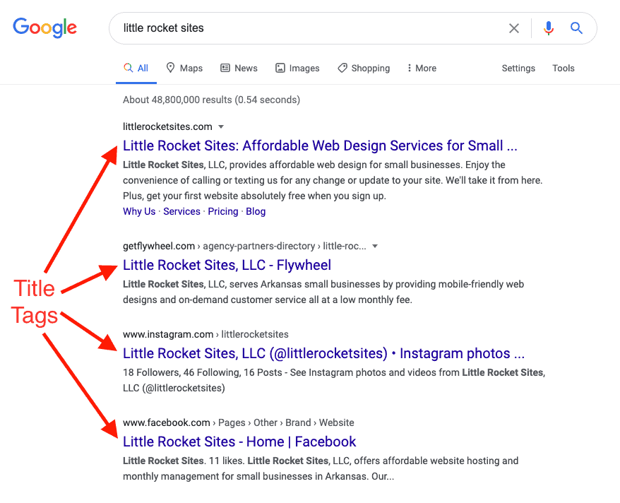 A screenshot of the Google search results page with fours arrows pointing to examples of title tags, a basic SEO on-page component.