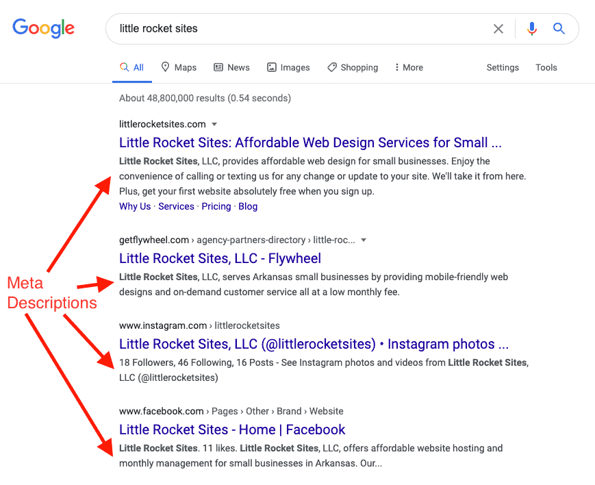 A screenshot of a Google search result with four arrows points to examples of meta descriptions, a basic SEO on-page component.