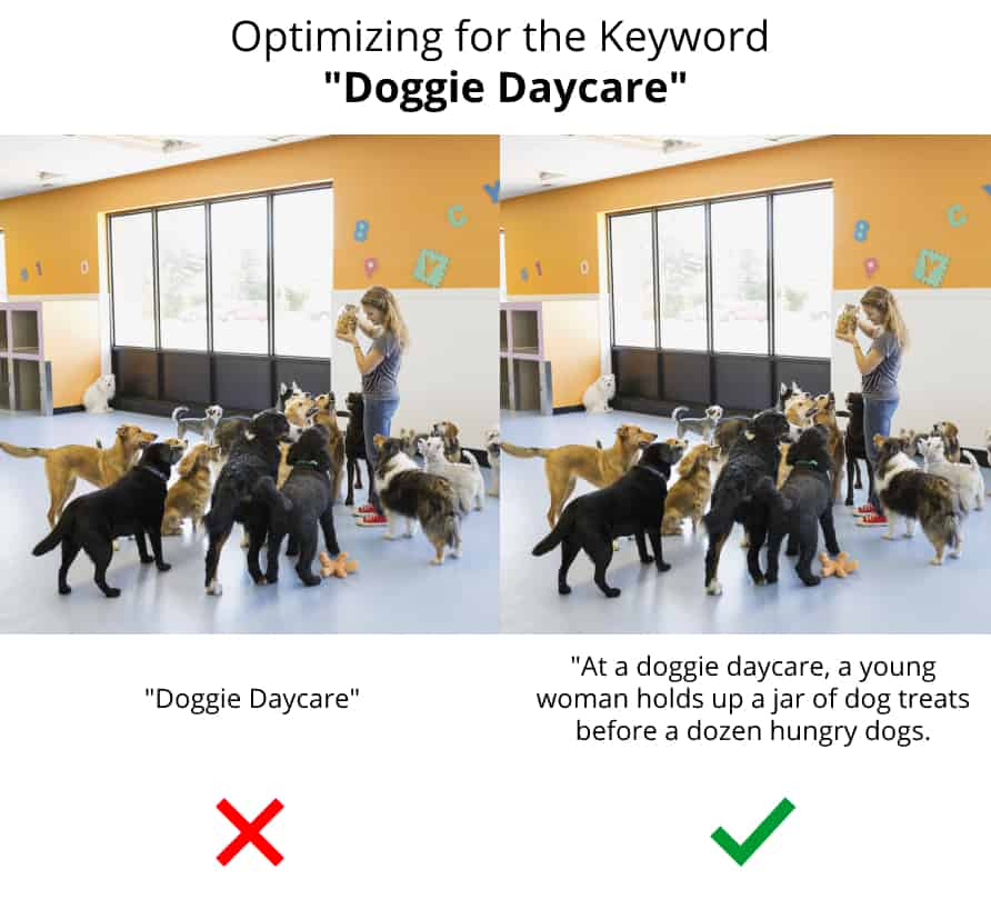 An example of the use of a bad image alt tag on the left compared to the use of a good image alt tag on the right.