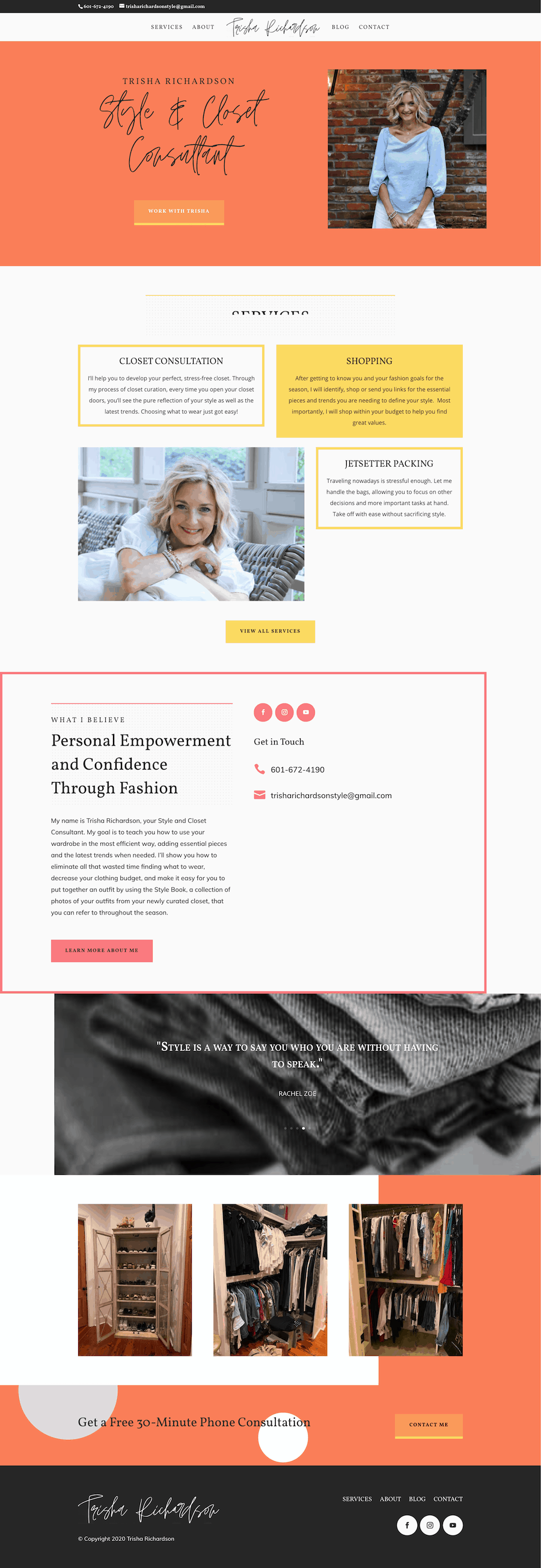 The Homepage of a Personal Stylist Website for Trisha Richardson Style