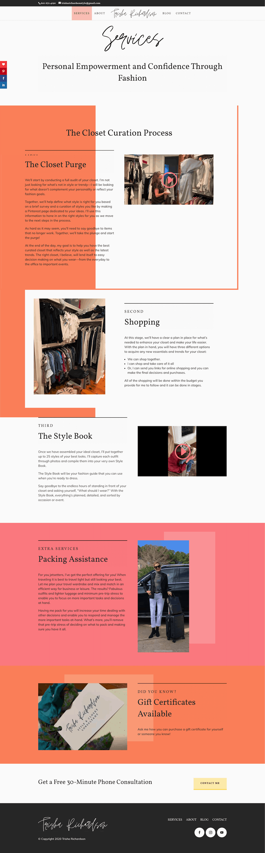 The Interior of a Personal Stylist Website for Trisha Richardson Style