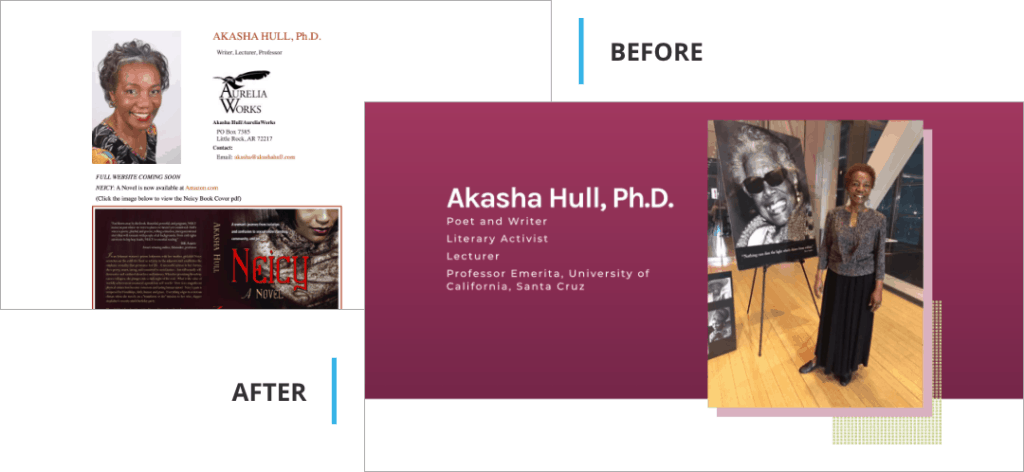 Akasha Hull Author Website Design Before and After