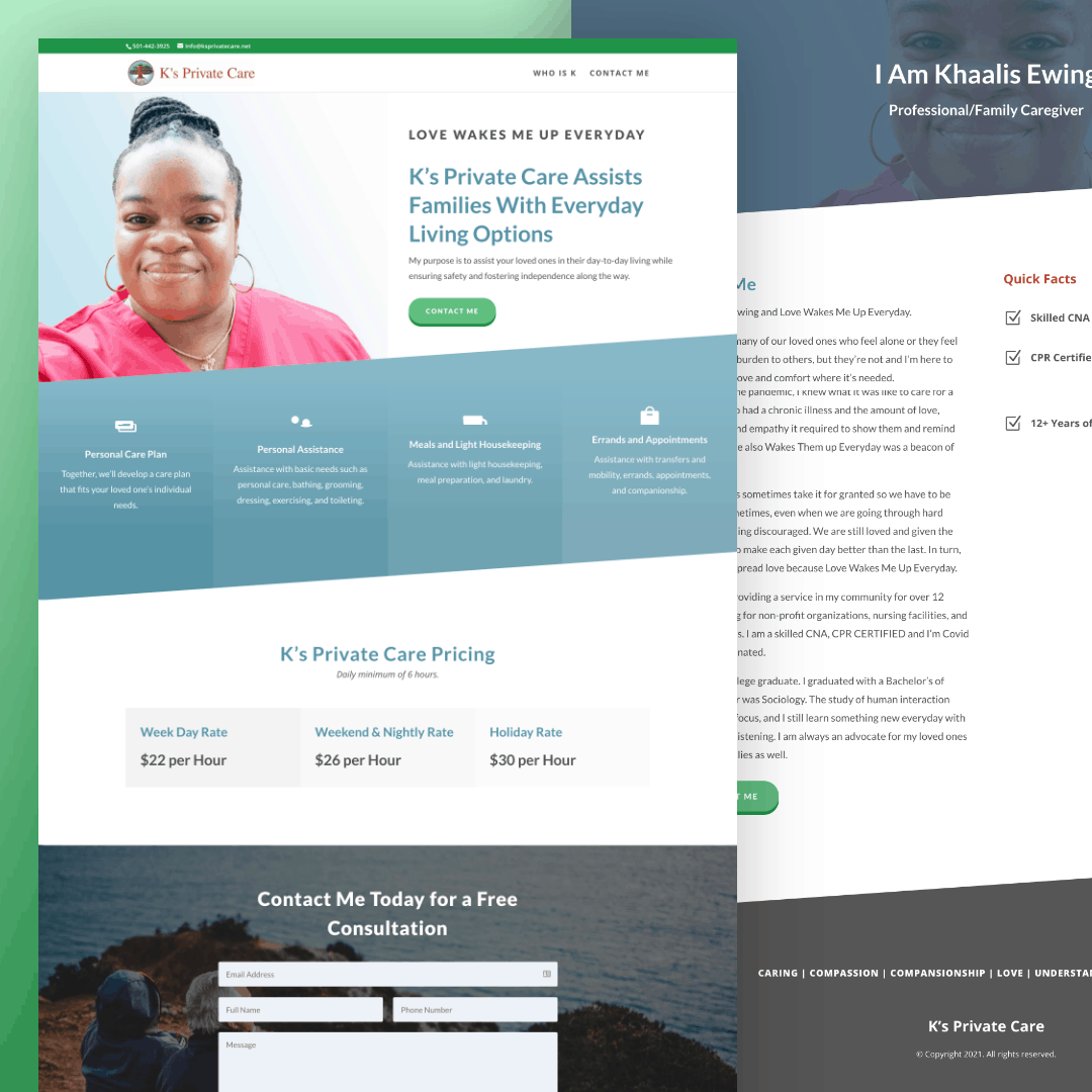 K's Private Care - Senior Living Web Design
