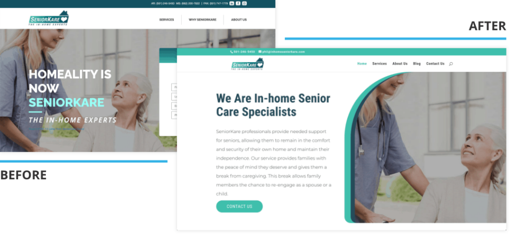 SeniorKare Web Design Before and After